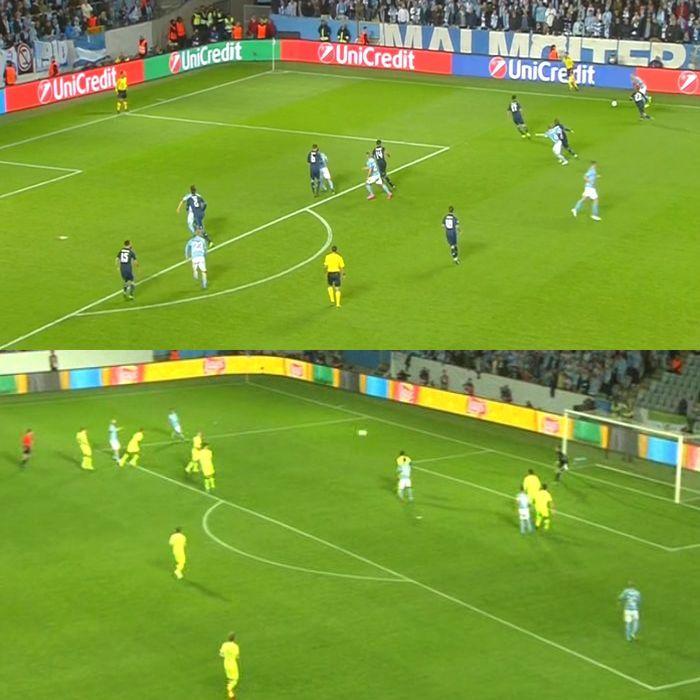 Футболисты Мальме вбегают в чужую штрафную при подаче: а) в матче с Реалом; б) в матче с Селтиком
