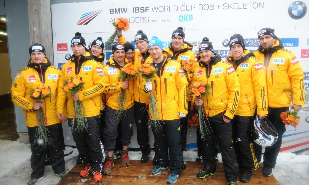 Немецким экипажам не было равных в дебютной гонке мужских четверок, ibsf.org