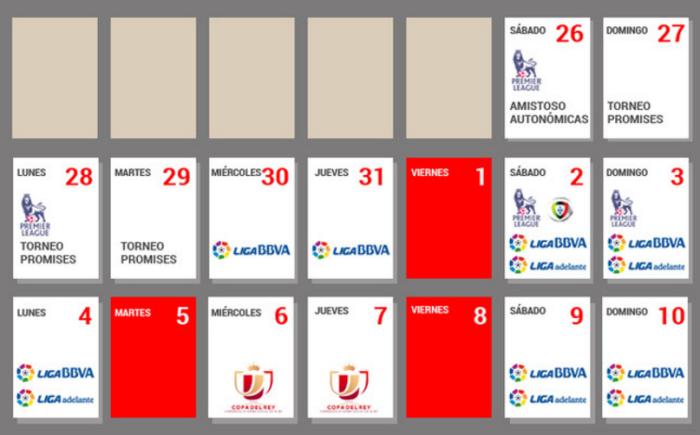 Расписание сложнейшего графика в Испании, sport.es