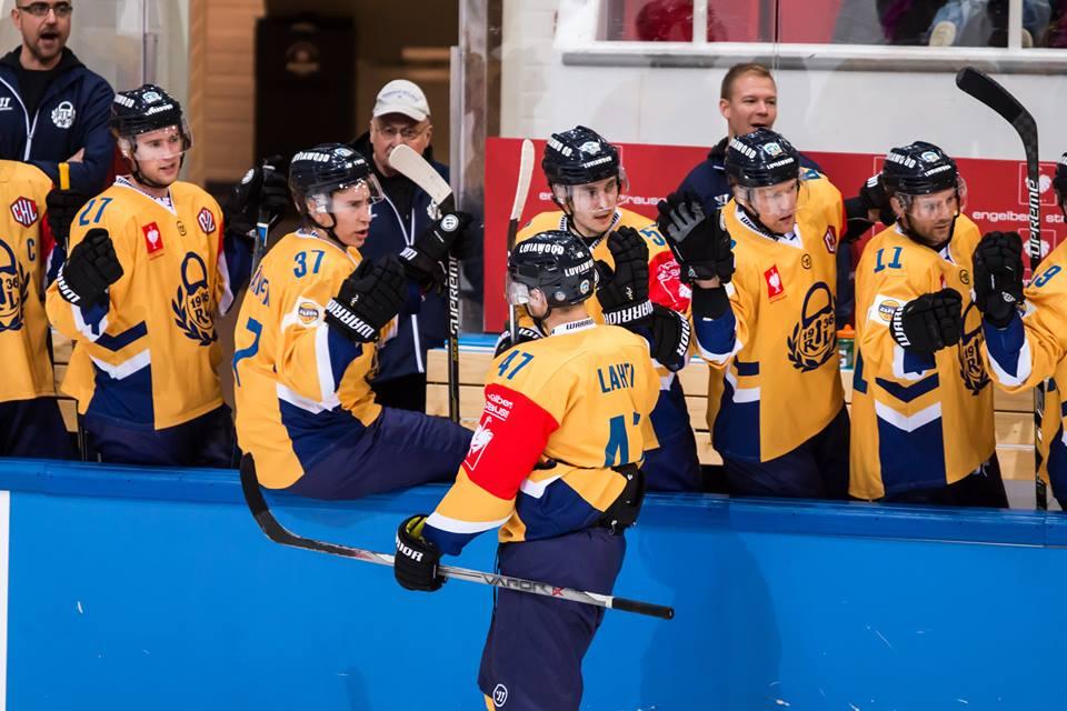 Игроки Лукко празднуют гол в ворота ТПС, фото CHL