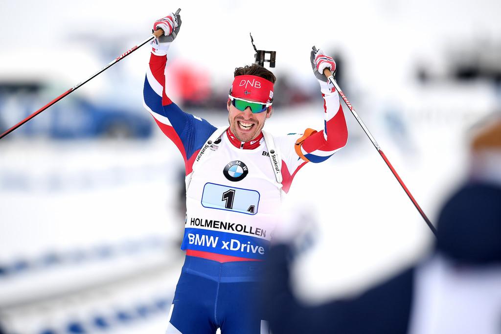 Эмиль Свендсен празднует победу в эстафете на чемпионате мира, Zimbio
