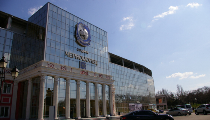 Главный вход на стадион с фасадом одесской мерии, фото Максима Сухенко