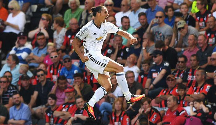 Дебютный гол нападающего Манчестер Юнайтед Златана Ибрагимовича вАПЛ