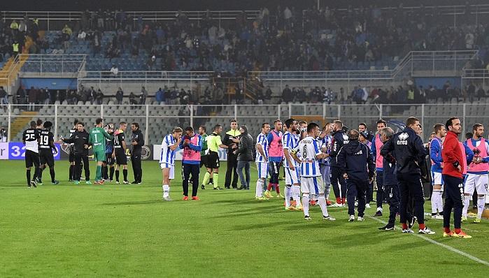 Игру десятого тура чемпионата Италии пофутболу остановили из-за землетрясения