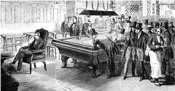 Пол Морфи дает сеанс игры вслепую в «Кафе де ля Режанс», из журнала Harper's Weekly, за ноябрь 1858 года