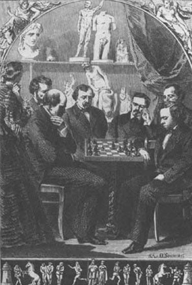 Морфи (справа) играет с Андерсеном, edochess.ca
