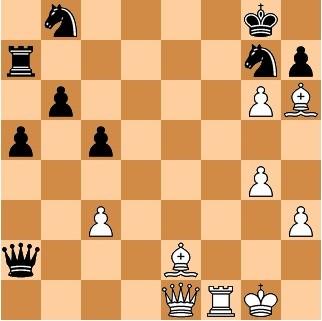 Чигорин объявляет мат в три хода: 1. Сс4+ Ф:с4 2. Фе8+ К:е8 3. Лf8х.