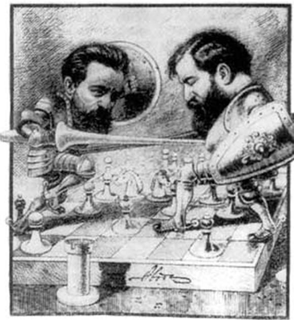 """Так увидел противостояние Чигорина и Стейница журнал """"Стрекоза"""", chessgames.com"""