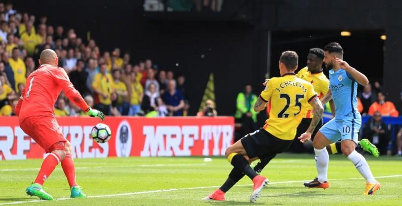 Манчестер Сити навыезде уничтожил Уотфорд иостался натретьем месте