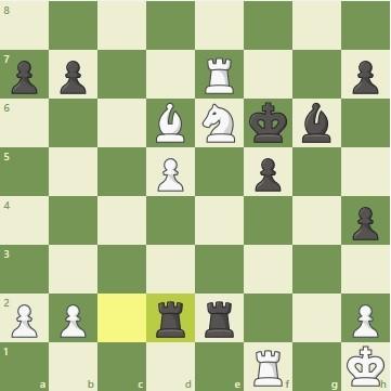 Чигорин – Стейниц, 23 партия матча за звание чемпиона мира по шахматам 1892 года. Позиция после 31-го хода.