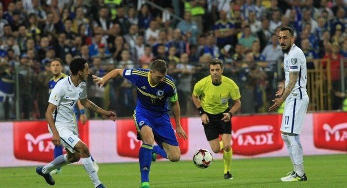Матч отбора кЧМ-2018 Босния иГерцеговина— Греция закончился потасовкой