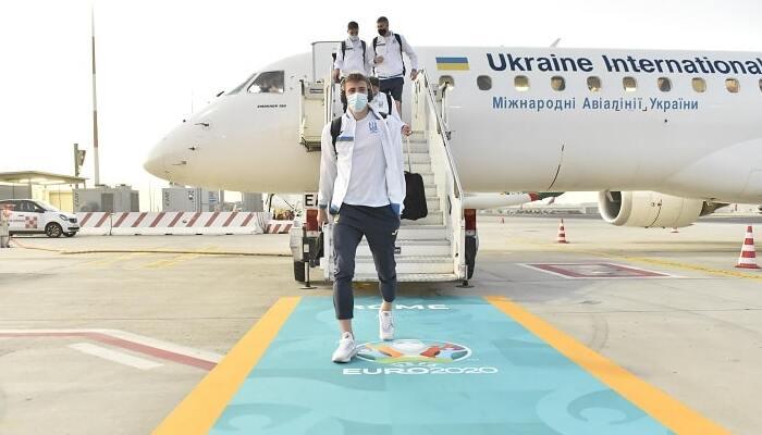 Сборная Украины прибыла в Рим на матч 1/4 финала Евро-2020 против Англии