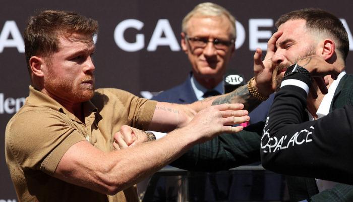Канело і Плант влаштували бійку під час дуелі поглядів